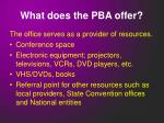 what does the pba offer