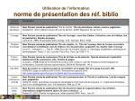 utilisation de l information norme de pr sentation des r f biblio