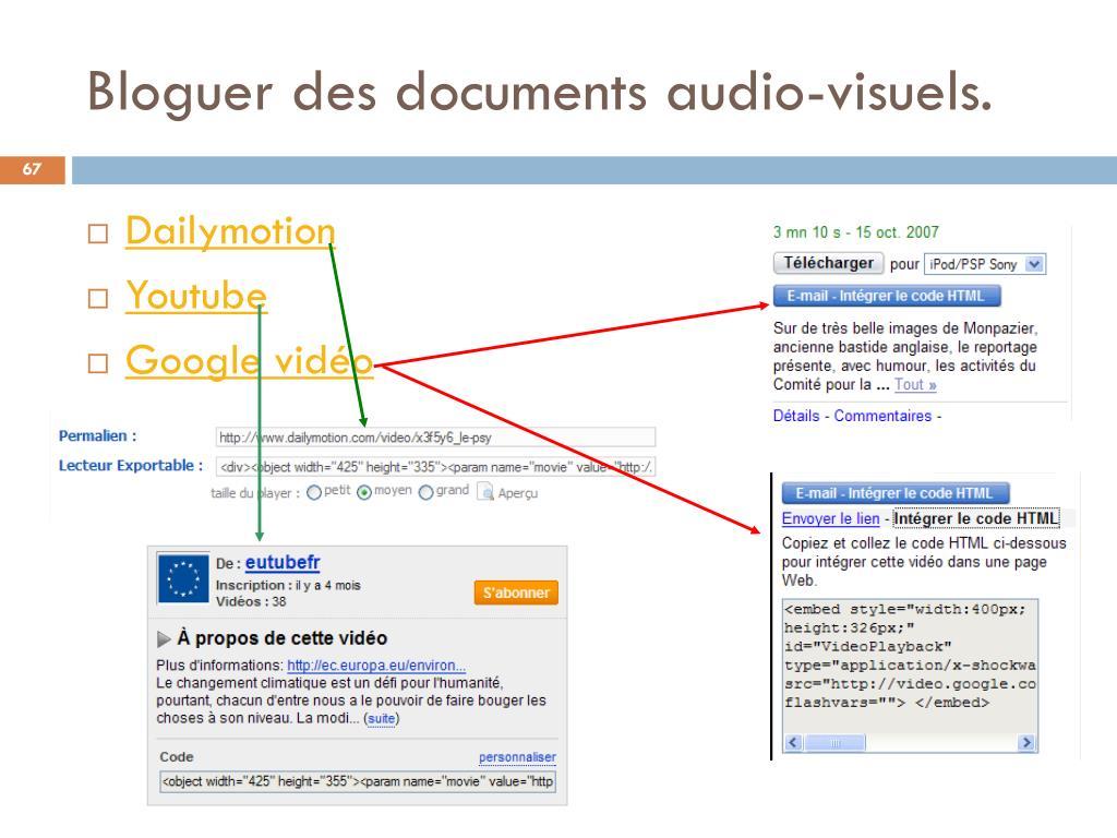 Bloguer des documents audio-visuels.