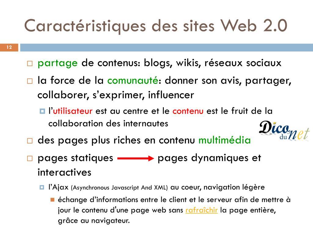 Caractéristiques des sites Web 2.0