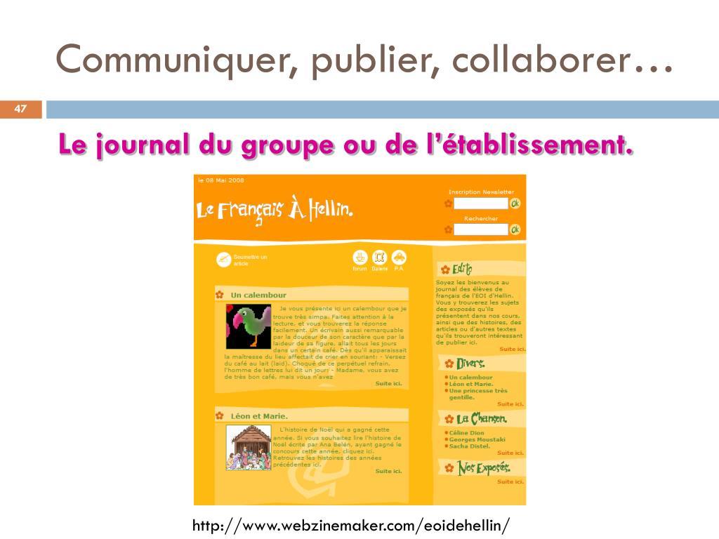Communiquer, publier, collaborer…