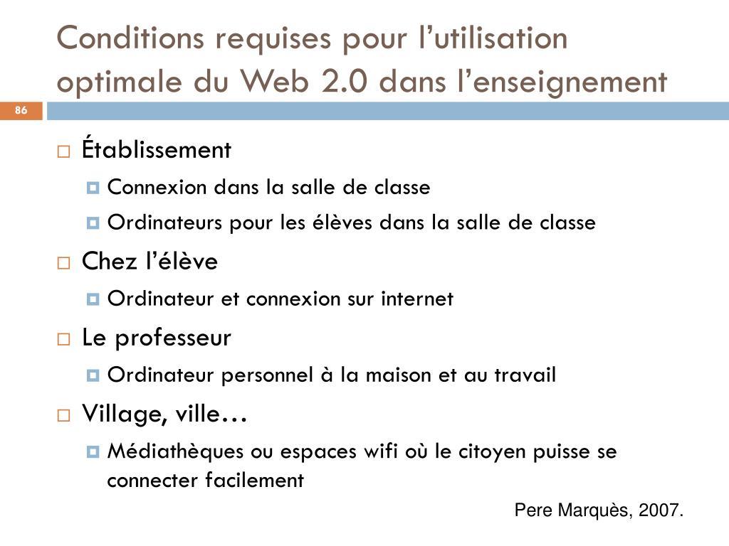 Conditions requises pour l'utilisation optimale du Web 2.0 dans l'enseignement