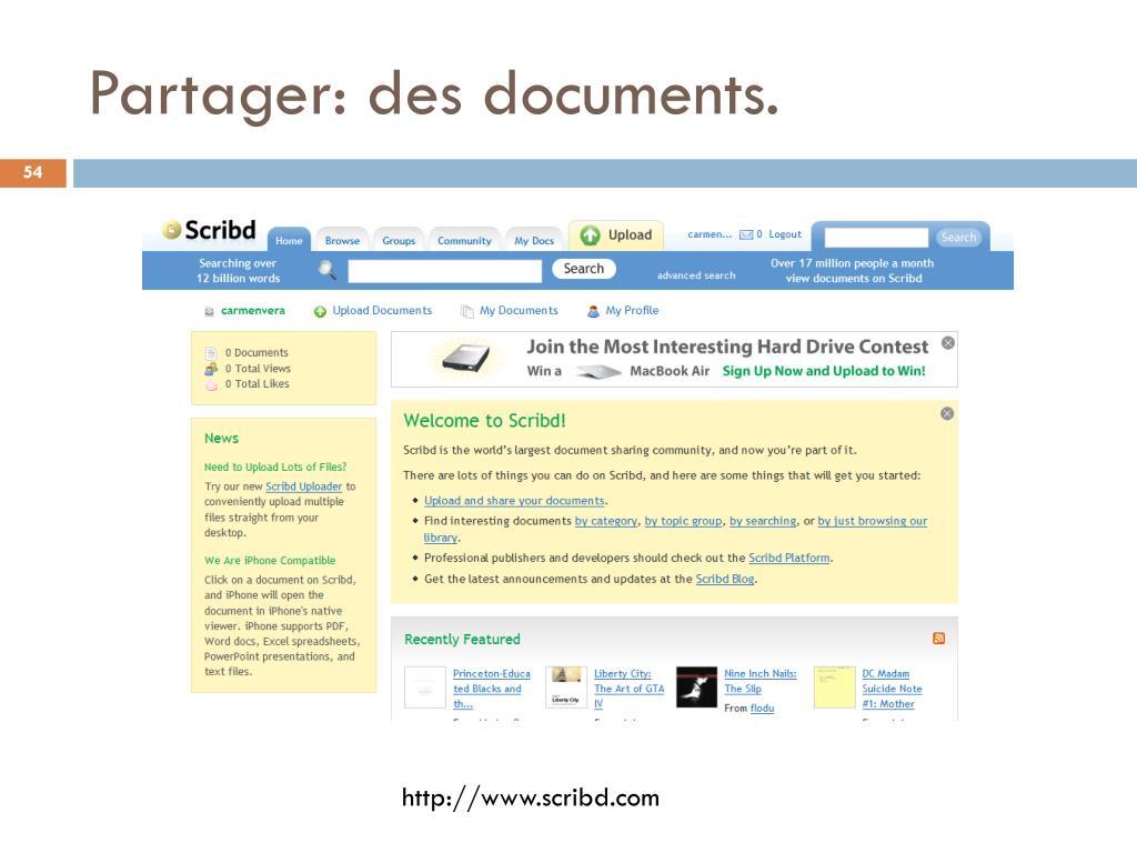 Partager: des documents.