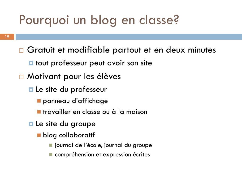 Pourquoi un blog en classe?