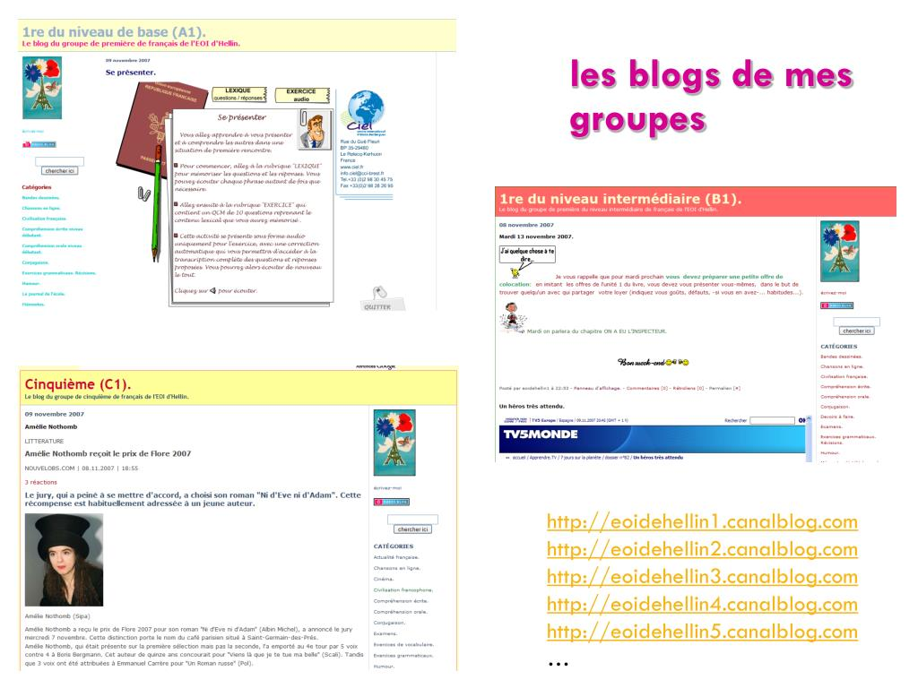 les blogs de mes groupes