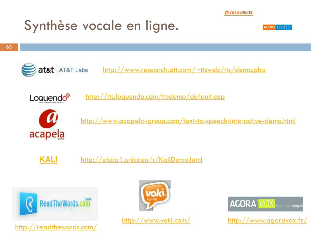 Synthèse vocale en ligne.