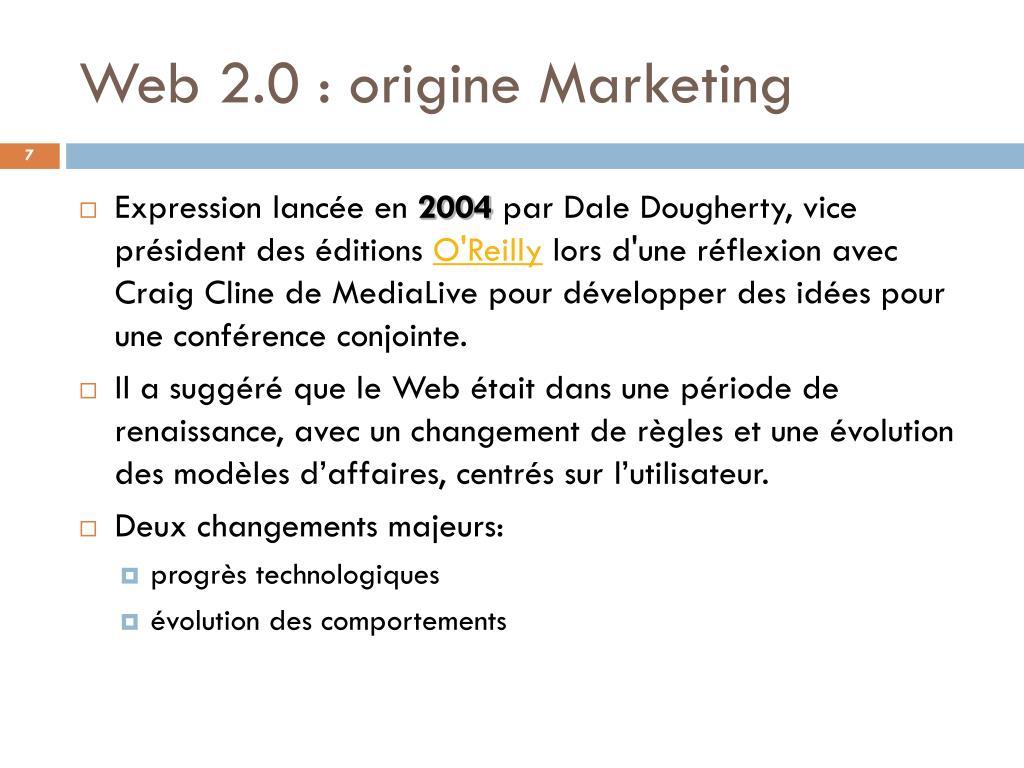 Web 2.0 : origine Marketing
