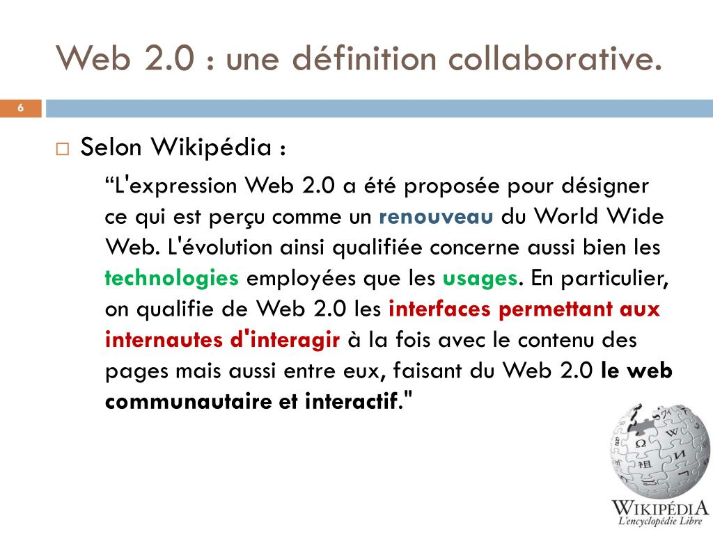 Web 2.0 : une définition collaborative.