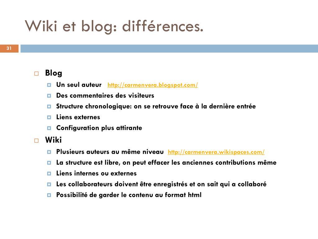 Wiki et blog: différences.