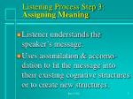 listening process step 3 assigning meaning