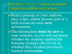 procedures step two 3a practice feedback comprehensive efferent listening