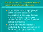procedures step two 3a practice feedback comprehensive efferent listening17