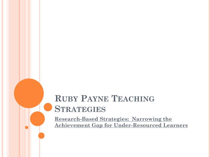 ruby payne teaching strategies n.