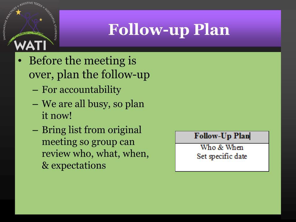 Follow-up Plan
