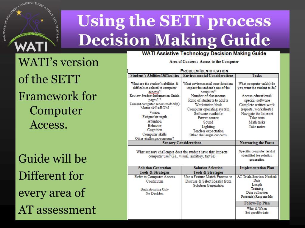 Using the SETT process