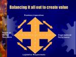 balancing it all out to create value