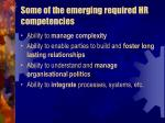 some of the emerging required hr competencies