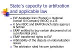 state s capacity to arbitration and applicable law