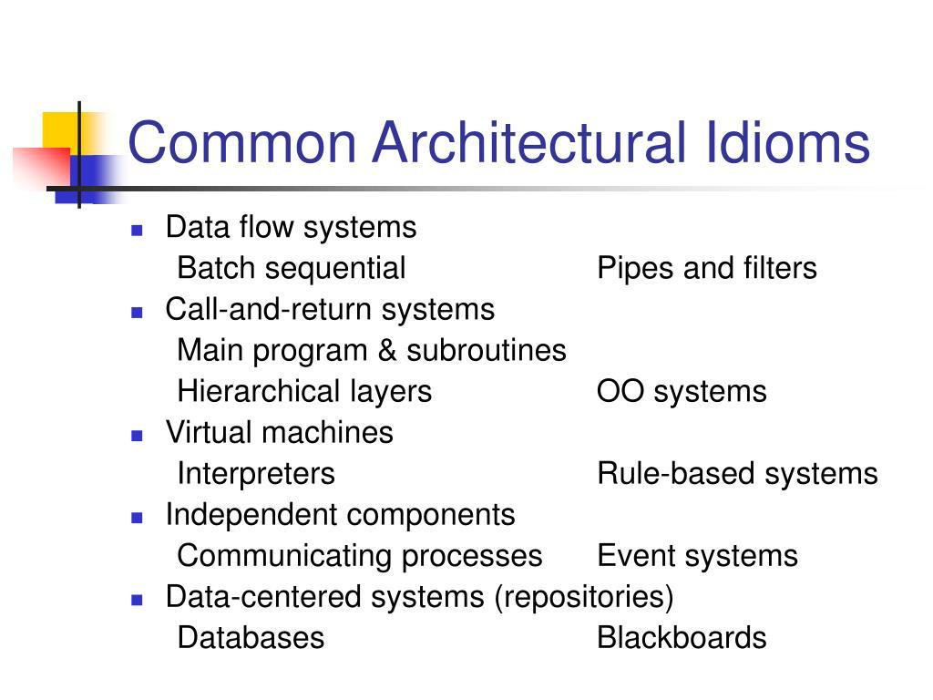 Common Architectural Idioms