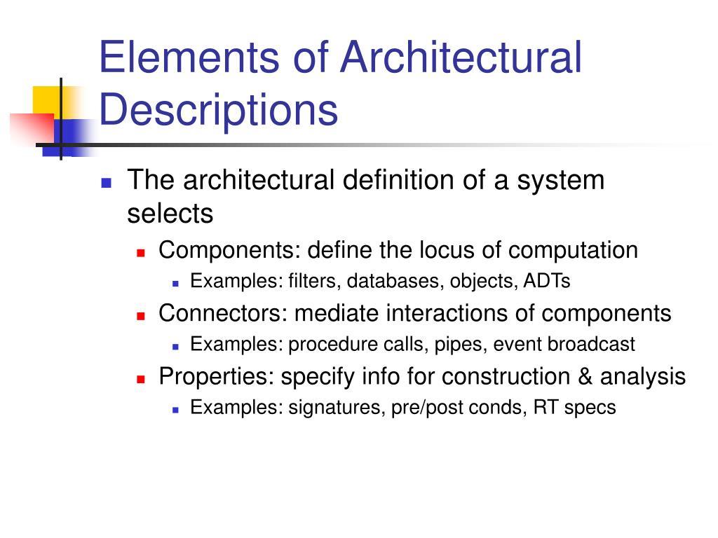 Elements of Architectural Descriptions
