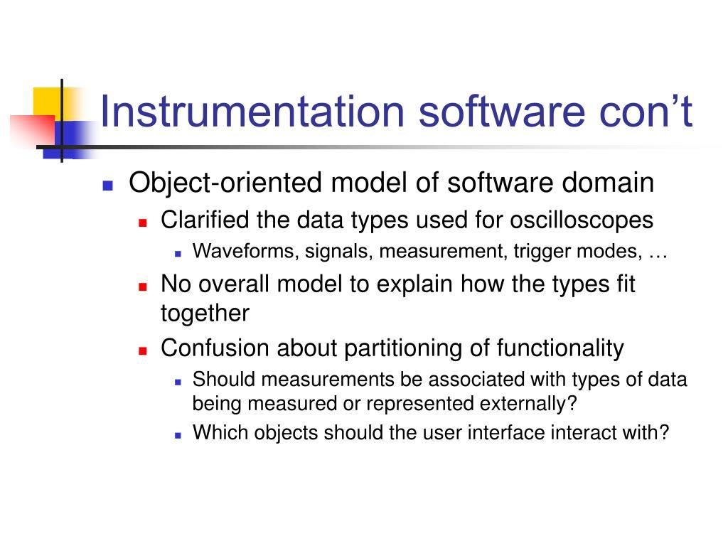 Instrumentation software con't