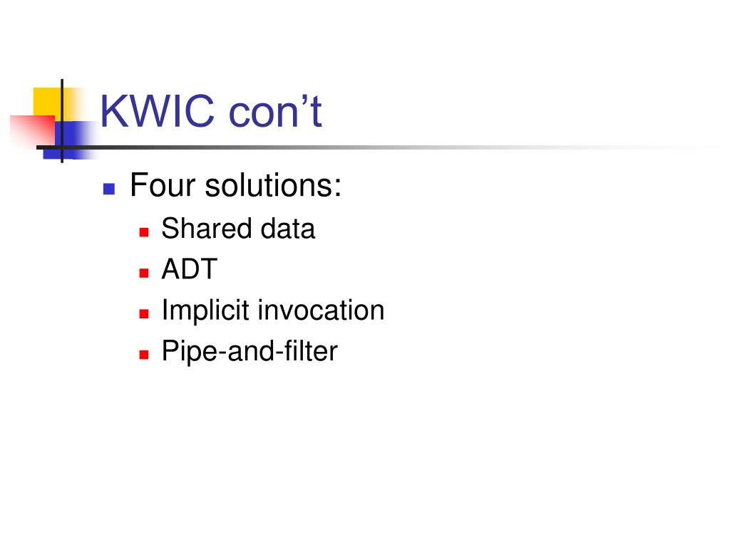 KWIC con't