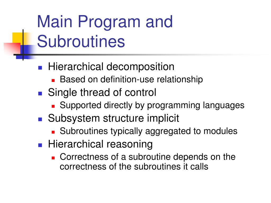 Main Program and Subroutines