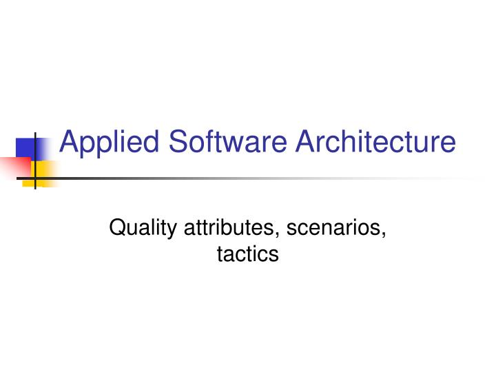 applied software architecture n.