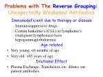 problems with the reverse grouping unexpectedly weakened antibodies
