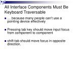 all interface components must be keyboard traversable