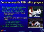 commonwealth tkd elite players