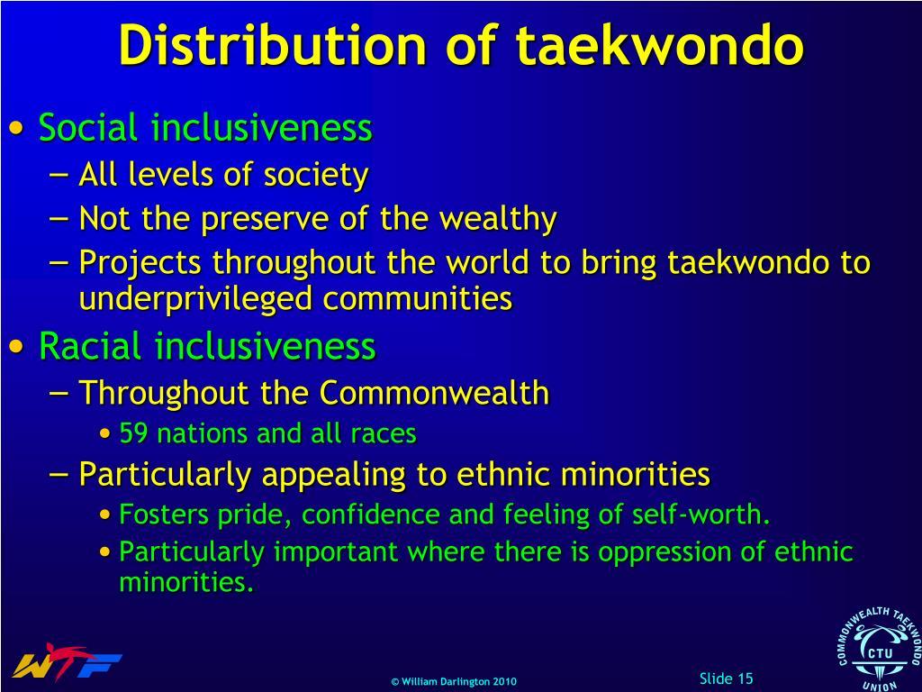 Distribution of taekwondo