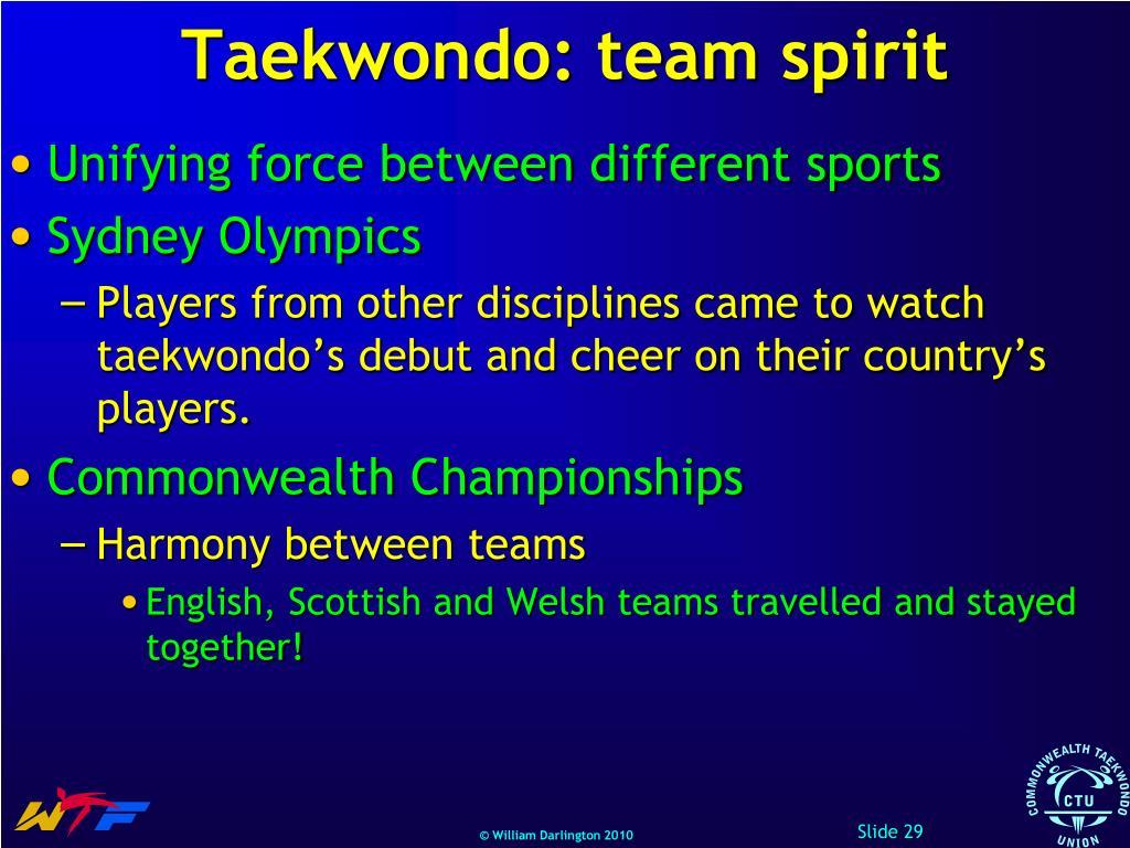 Taekwondo: team spirit