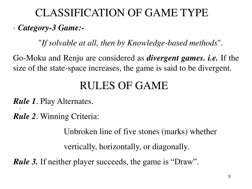 CLASSIFICATION OF GAME TYPE
