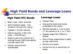 high yield bonds and leverage loans