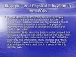 education and physical education in the 1600s50
