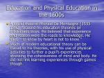 education and physical education in the 1600s51