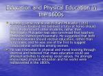 education and physical education in the 1600s53
