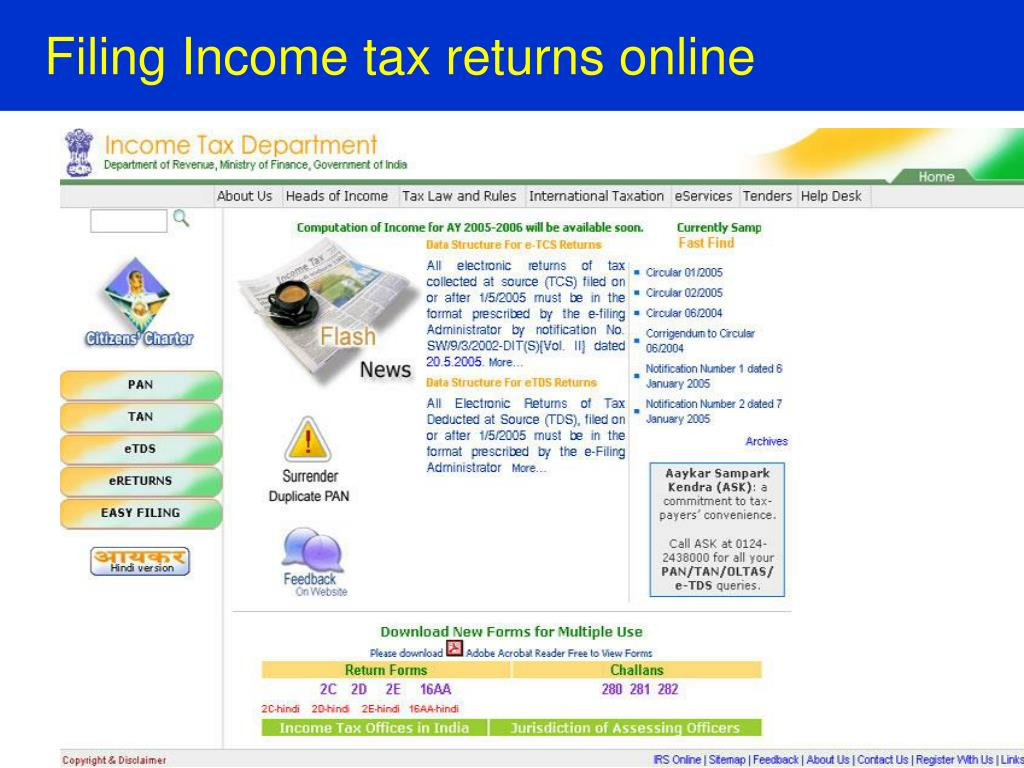 Filing Income tax returns online