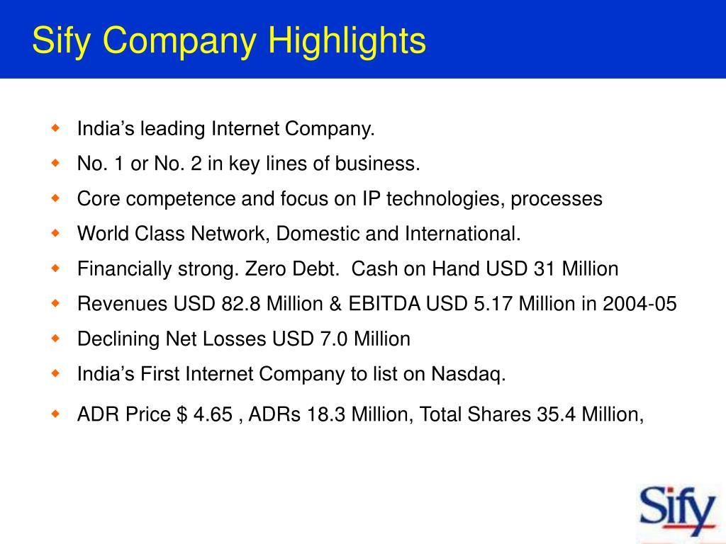Sify Company Highlights