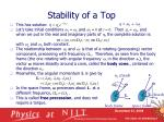 stability of a top