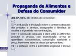propaganda de alimentos e defesa do consumidor