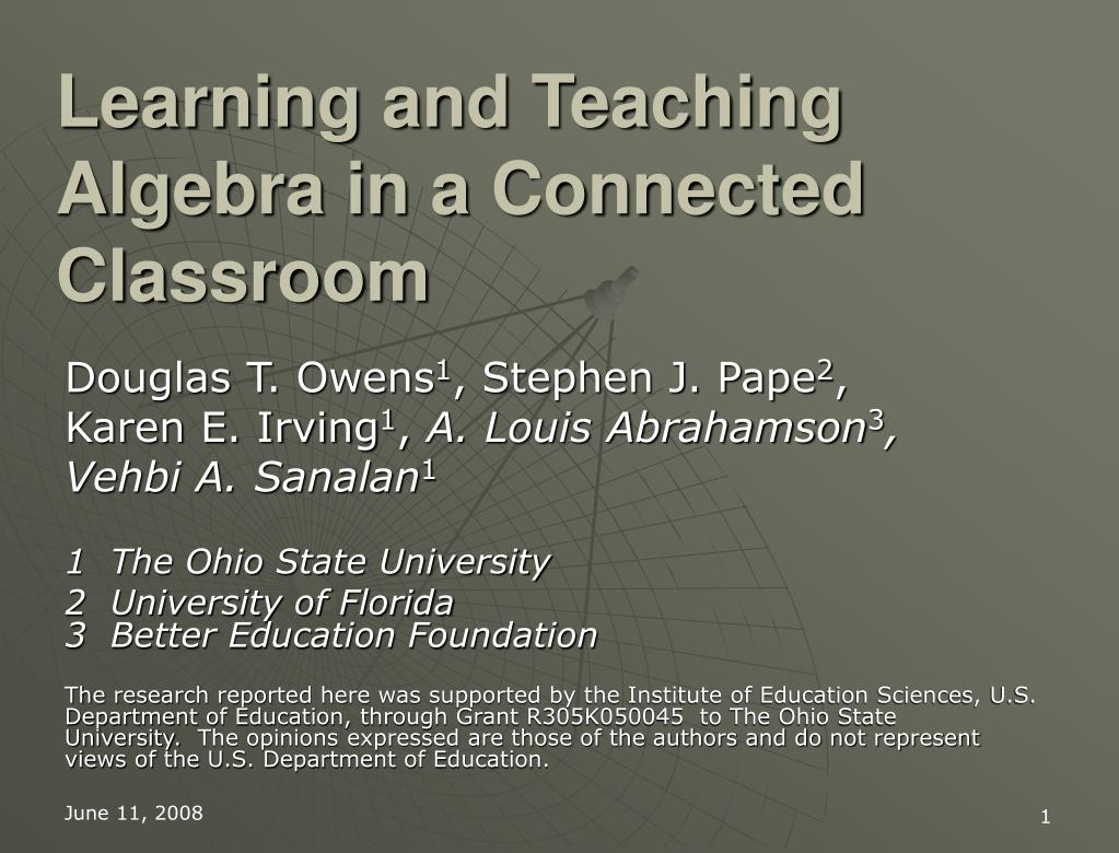 learning and teaching algebra in a connected classroom l.