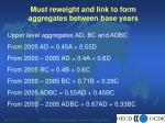 must reweight and link to form aggregates between base years