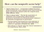 how can the nonprofit sector help