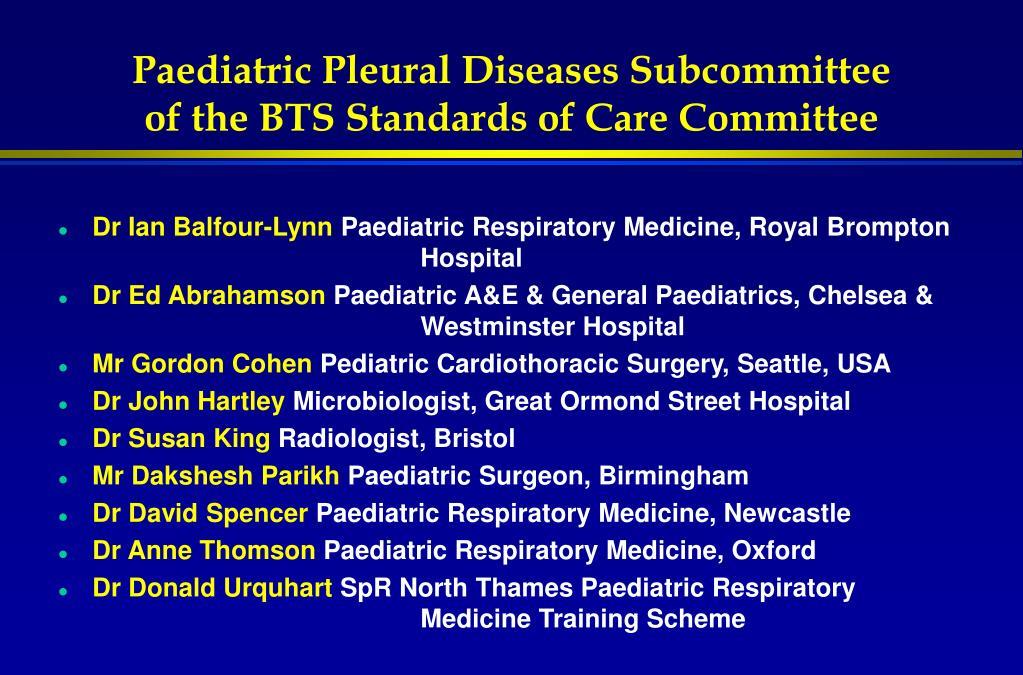 Paediatric Pleural Diseases Subcommittee