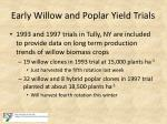 early willow and poplar yield trials