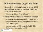 willow biomass crop yield trials