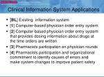 clinical information system applications