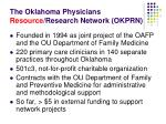 the oklahoma physicians resource research network okprn